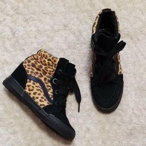 Van's Leopard Wedged Shoes